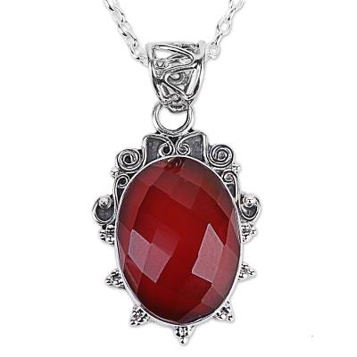 India Handcrafted Sterling Silver Necklace with Carnelian