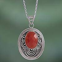 Carnelian pendant necklace, 'Vibrant Sunset' - Carnelian Sterling Silver Pendant Necklace from India