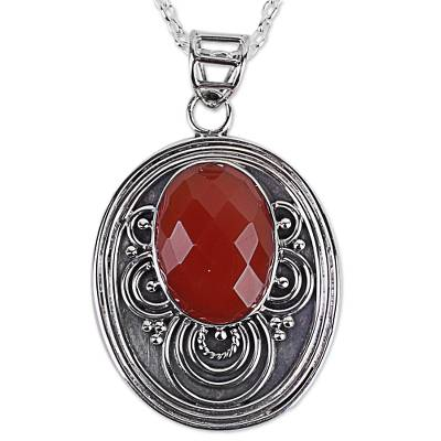 Carnelian Sterling Silver Pendant Necklace from India