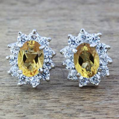 Citrine stud earrings, 'Sunny Sophistication' - Sterling Silver Citrine and Cubic Zirconia Stud Earrings