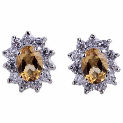 Sterling Silver Citrine and Cubic Zirconia Stud Earrings