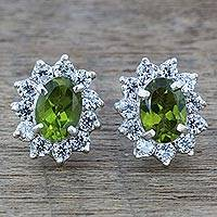 Peridot stud earrings, 'Green Sophistication' - Sterling Silver Peridot and Cubic Zirconia Stud Earrings