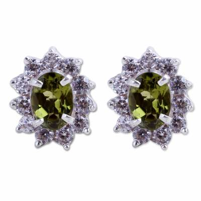 Sterling Silver Peridot and Cubic Zirconia Stud Earrings