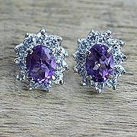 Amethyst stud earrings, 'Lilac Sophistication' - Sterling Silver Amethyst and Cubic Zirconia Stud Earrings
