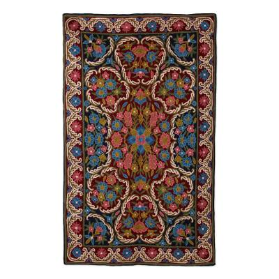 Wool chain stitch rug, 'Kashmir Festival II' (3x5) - Handmade Wool Chain Stitch Rug in Floral Pattern (3x5)