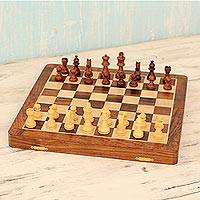 Wood travel chess set, 'Wood Challenge' - Magnetic Wood Chess Set with Velvet Lining from India
