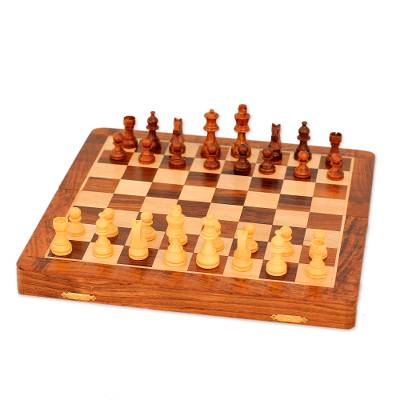 Wood travel chess set, 'Strategy Challenge' - Magnetic Wood Chess Set with Velvet Lining from India