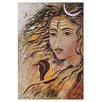 Oil painting, 'Mahadev' - Original Signed Oil Painting Hindu Lord Shiva from India