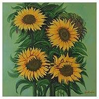 'Summer Blossom III' - Original Sunflower Oil Painting by Indian Artist