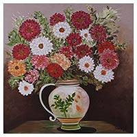 'Happiness' - Original Oil on Canvas Painting of Flower Vase Still Life