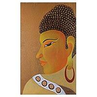 'Awakening' - Signed Original Buddha Oil Painting from India