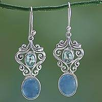 Chalcedony and blue topaz dangle earrings, 'Harmonious Blue' - Handcrafted Blue Chalcedony and Topaz Dangle Earrings