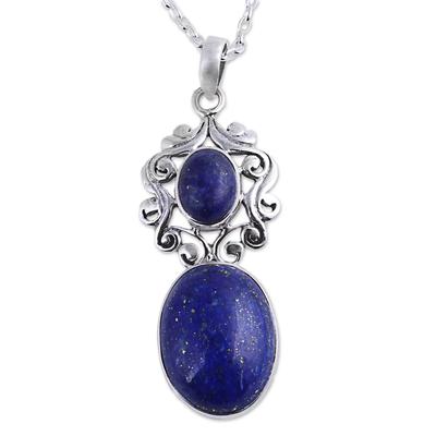 Handcrafted Deep Blue Lapis Lazuli Pendant Necklace