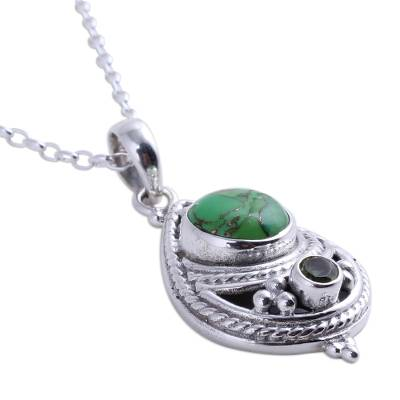 Peridot pendant necklace, 'Mesmerizing Sphere' - Peridot and Composite Turquoise Pendant Necklace from India