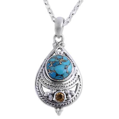 Citrine and Composite Turquoise Pendant Necklace from India