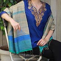 Jamdani silk shawl, 'Teal Sophistication' - 100% Silk Shawl in Teal and Blue on Beige Wrap from India
