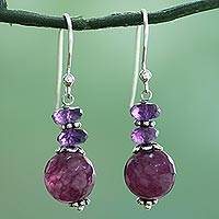 Amethyst dangle earrings, 'Graceful Amethyst' - Indian Amethyst Agate and Sterling Silver Dangle Earrings