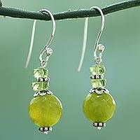 Agate and peridot dangle earrings, Peaceful Green
