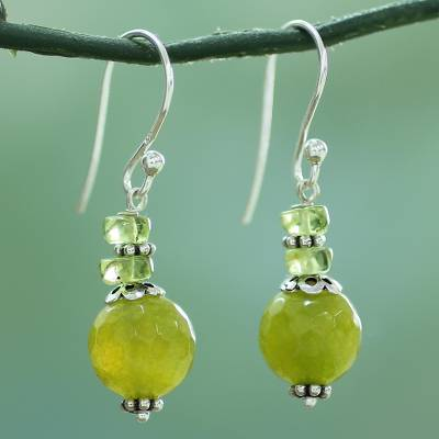 Agate and peridot dangle earrings, 'Peaceful Green' - Agate Peridot and Sterling Silver Dangle Earrings from India