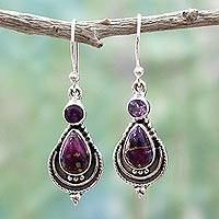 Amethyst dangle earrings, 'Mughal Lilac' - Silver Earrings with Amethyst and Composite Turquoise
