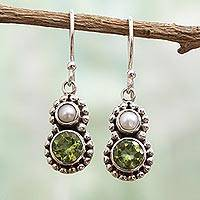 Cultured pearl and peridot dangle earrings, 'Kolkata Sparkle' - Petite Peridot and Cultured Pearl Silver Dangle Earrings