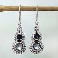 Iolite dangle earrings, 'Striking Blue' - Hand Made Iolite Sterling Silver Dangle Earrings from India
