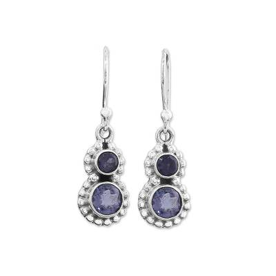 Hand Made Iolite Sterling Silver Dangle Earrings from India