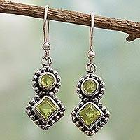 Peridot dangle earrings,  'Twin Aura' - India Artisan Handcrafted Silver and Peridot Earrings