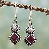 Cultured pearl and garnet dangle earrings, 'Kolkata Sparkle' - Garnet and Cultured Pearl Dangle Earrings in Silver 925