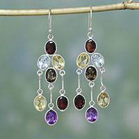 Multi-gemstone chandelier earrings, 'Wondrous Colors' - Handcrafted Multigemstone Indian Chandelier Earrings