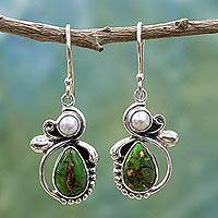 Cultured pearl dangle earrings, 'Mystical Green' - Green Turquoise and Cultured Pearl Dangle Earrings India