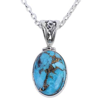 Blue Turquoise Sterling Silver Pendant Necklace India
