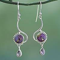 Amethyst dangle earrings, 'Sunny Lilac' - Indian Composite Turquoise Sterling Silver Dangle Earrings
