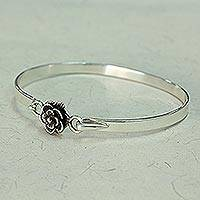 Sterling silver bangle bracelet, 'Rose Beauty' - Hand Made Sterling Silver Rose Bracelet from India