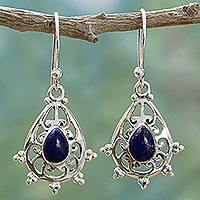 Lapis lazuli dangle earrings, 'Majestic Drops' - Sterling Silver Lapis Lazuli Dangle Earrings from India