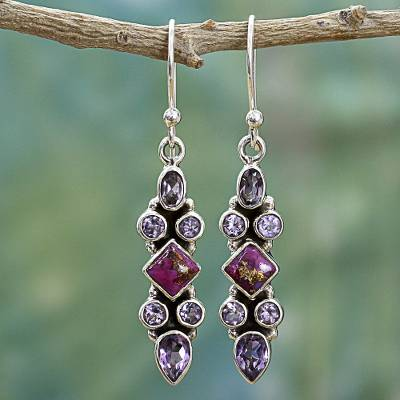 Amethyst dangle earrings, 'Mesmerizing Shapes' - Sterling Silver Amethyst Dangle Earrings from India