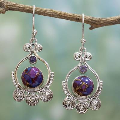 Amethyst dangle earrings, 'Exotic Swirls' - Purple Amethyst Sterling Silver Earrings Handcrafted India