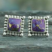 Sterling silver stud earrings, 'Magical Purple' - Composite Purple Turquoise Earrings Handmade in India