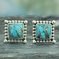 Sterling silver stud earrings, 'Magical Blue' - Composite Turquoise Stud Earrings Handmade in India