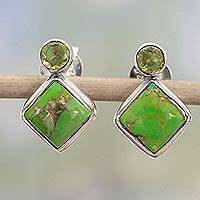 Peridot drop earrings, 'Green Sparkle' - Indian Peridot Earrings with Composite Green Turquoise