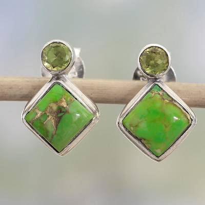 Peridot drop earrings, Green Sparkle