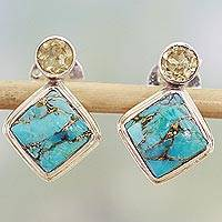 Citrine drop earrings, 'Turquoise Sparkle' - Indian Citrine Earrings with Composite Blue Turquoise