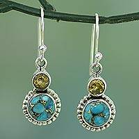 Citrine dangle earrings, 'Earth and Sun' - Citrine and Composite Turquoise Sterling Silver Earrings