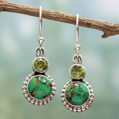 Peridot dangle earrings, 'Forest Floor' - Peridot, Composite Turquoise, and Sterling Silver Earring