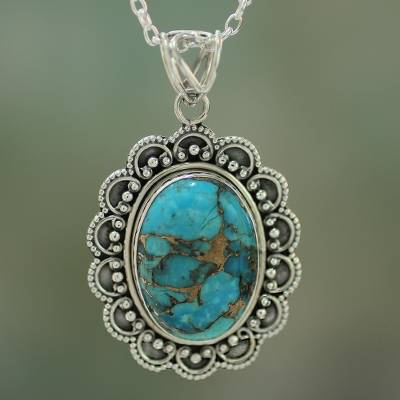 Sterling silver pendant necklace, 'Royal Halo' - Composite Turquoise Pendant Necklace Handcrafted in India