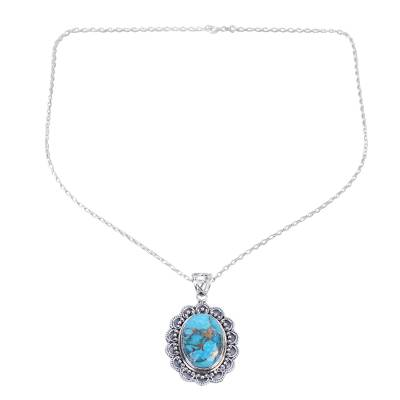 Composite Turquoise Pendant Necklace Handcrafted in India