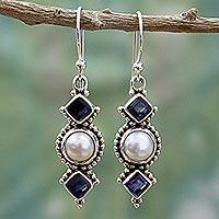 Cultured pearl and iolite dangle earrings,