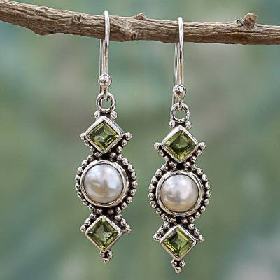 Cultured pearl and peridot dangle earrings, 'Vernal Allure' - Peridot and Cultured Pearl Dangle Sterling Silver Earrings