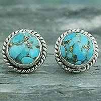 Sterling silver stud earrings, 'Cool Aqua Radiance' - Sterling Silver Composite Turquoise Stud Earrings