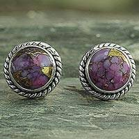 Sterling silver stud earrings, 'Purple Radiance' - Purple Composite Turquoise Stud Earrings with Silver 925